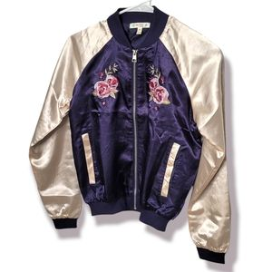 Satin Embroidered Floral Japanese Style Two Tone Navy Bomber Jacket, XS
